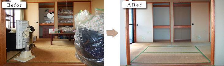 和室の大型家具家電も一つ一つ運び出しました